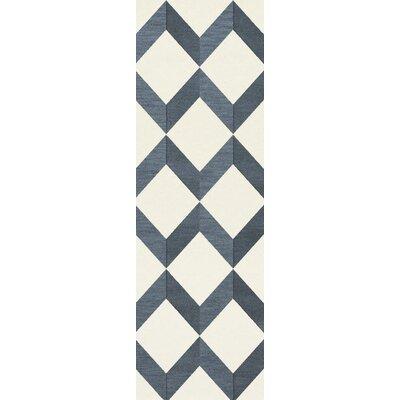 Bella Blue/White Area Rug Rug Size: Runner 26 x 10