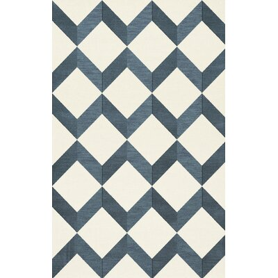 Bella Blue/White Area Rug Rug Size: Rectangle 10 x 14