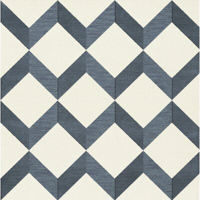 Bella Blue/White Area Rug Rug Size: Square 12