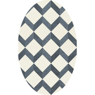 Bella Blue/White Area Rug Rug Size: Oval 9 x 12