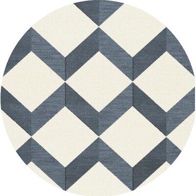 Bella Blue/White Area Rug Rug Size: Round 10