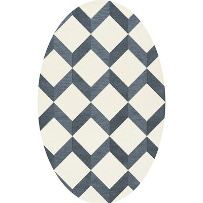 Bella Blue/White Area Rug Rug Size: Oval 8 x 10