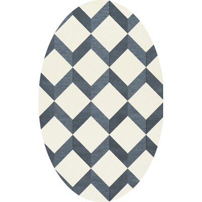 Bella Blue/White Area Rug Rug Size: Oval 10 x 14