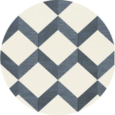 Bella Blue/White Area Rug Rug Size: Round 6