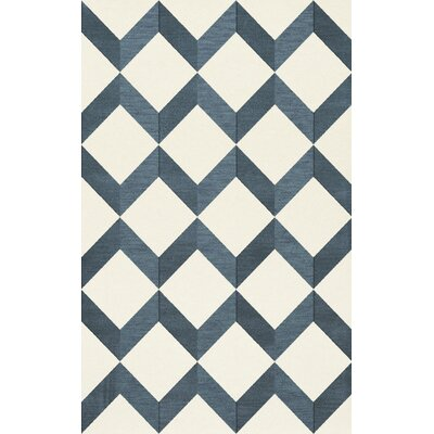 Bella Blue/White Area Rug Rug Size: Rectangle 12 x 18