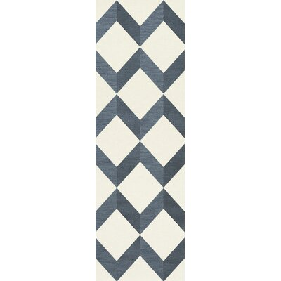 Bella Blue/White Area Rug Rug Size: Runner 26 x 12