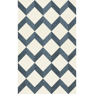 Bella Blue/White Area Rug Rug Size: 4 x 6