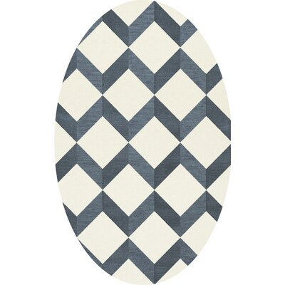 Bella Blue/White Area Rug Rug Size: Oval 3 x 5