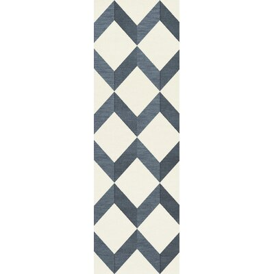 Bella Blue/White Area Rug Rug Size: Runner 26 x 8
