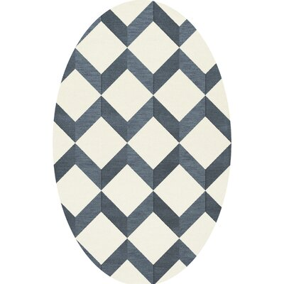 Bella Blue/White Area Rug Rug Size: Oval 12 x 18