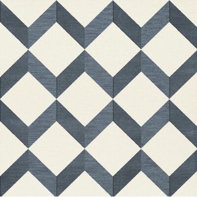 Bella Blue/White Area Rug Rug Size: Square 8