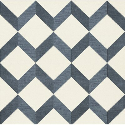 Bella Blue/White Area Rug Rug Size: Square 10