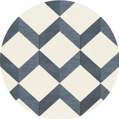 Bella Blue/White Area Rug Rug Size: Round 12