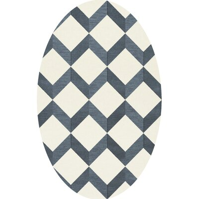 Bella Blue/White Area Rug Rug Size: Oval 12 x 15