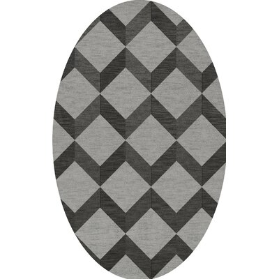 Bella Machine Woven Wool Gray/Black Area Rug Rug Size: Oval 3 x 5