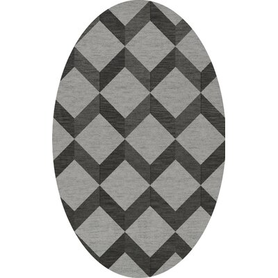 Bella Machine Woven Wool Gray/Black Area Rug Rug Size: Oval 12 x 18