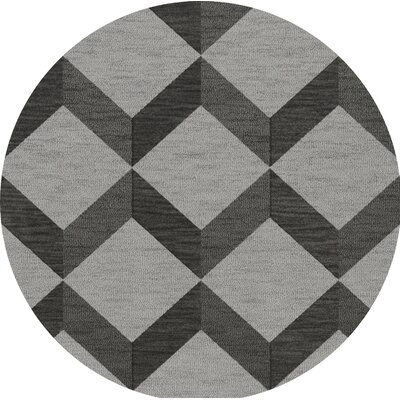 Bella Machine Woven Wool Gray/Black Area Rug Rug Size: Round 4
