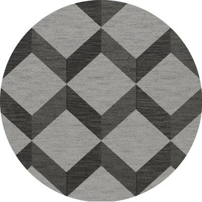 Bella Gray/Black Area Rug Rug Size: Round 10