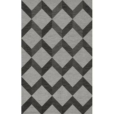 Bella Machine Woven Wool Gray/Black Area Rug Rug Size: Rectangle 4 x 6