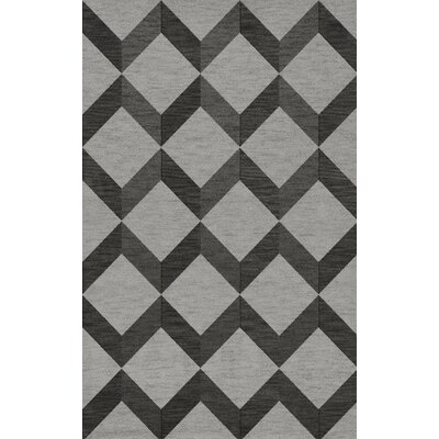 Bella Machine Woven Wool Gray/Black Area Rug Rug Size: Rectangle 12 x 18