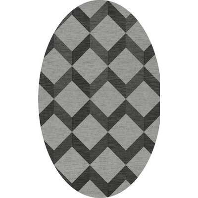 Bella Machine Woven Wool Gray/Black Area Rug Rug Size: Oval 9 x 12