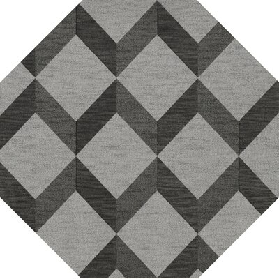 Bella Machine Woven Wool Gray/Black Area Rug Rug Size: Octagon 12