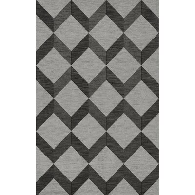 Bella Machine Woven Wool Gray/Black Area Rug Rug Size: Rectangle 5 x 8