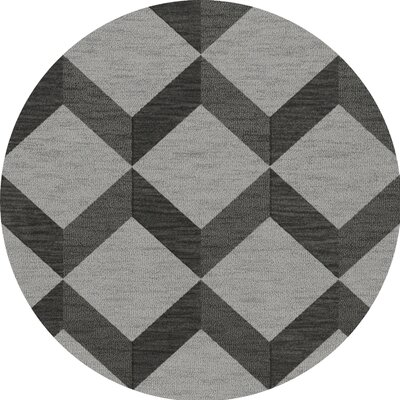 Bella Machine Woven Wool Gray/Black Area Rug Rug Size: Round 6