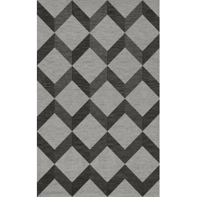 Bella Machine Woven Wool Gray/Black Area Rug Rug Size: Rectangle 10 x 14