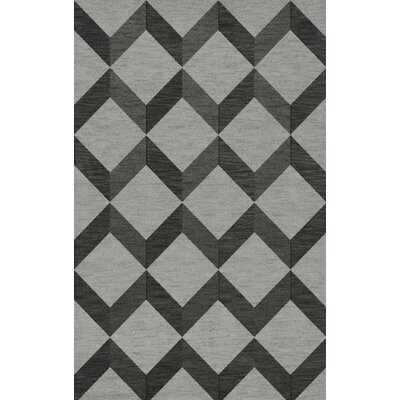 Bella Machine Woven Wool Gray/Black Area Rug Rug Size: Rectangle 3 x 5