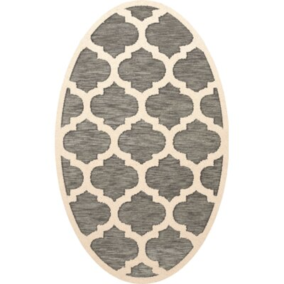 Bella Gray/Beige Area Rug Rug Size: Oval 5 x 8