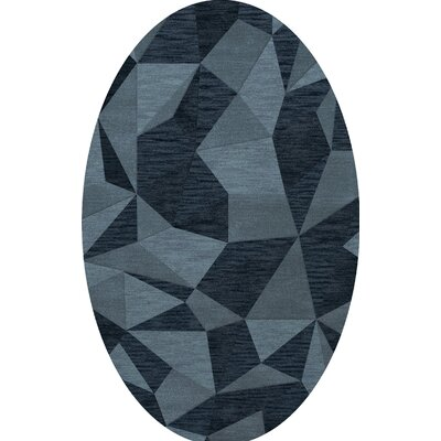 Bella Machine Woven Wool Blue Area Rug Rug Size: Oval 4 x 6