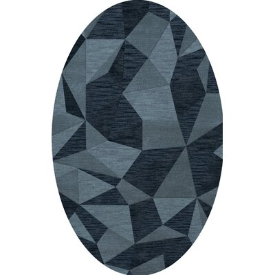 Bella Machine Woven Wool Blue Area Rug Rug Size: Oval 10 x 14