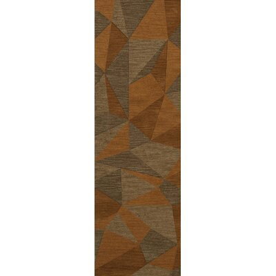 Bella Machine Woven Wool Orange/Brown  Area Rug Rug Size: Runner 26 x 8