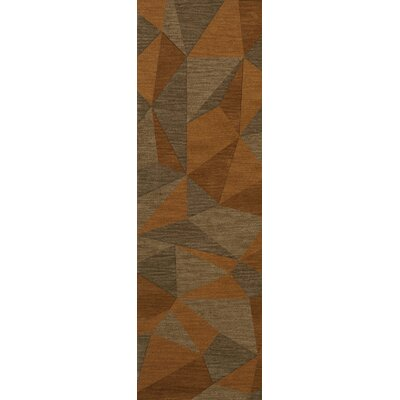 Bella Machine Woven Wool Orange/Brown  Area Rug Rug Size: Runner 26 x 12