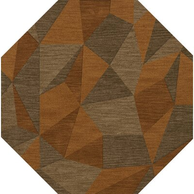 Bella Machine Woven Wool Orange/Brown  Area Rug Rug Size: Octagon 6