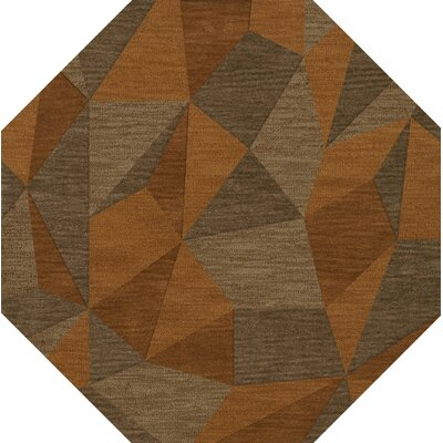 Bella Machine Woven Wool Orange/Brown  Area Rug Rug Size: Octagon 12