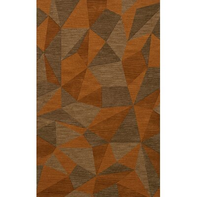 Bella Machine Woven Wool Orange/Brown  Area Rug Rug Size: Rectangle 6 x 9