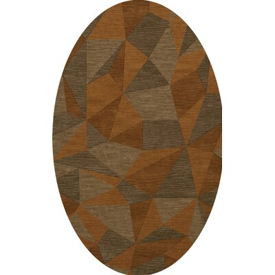 Bella Machine Woven Wool Orange/Brown  Area Rug Rug Size: Oval 9 x 12
