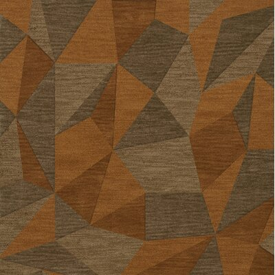 Bella Machine Woven Wool Orange/Brown  Area Rug Rug Size: Square 8