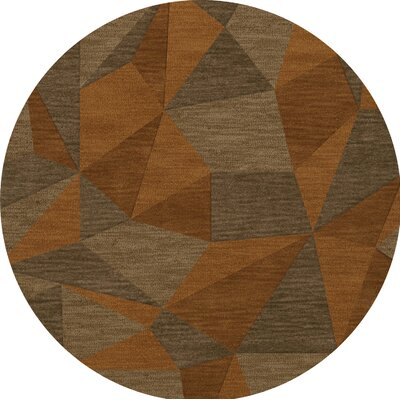 Bella Machine Woven Wool Orange/Brown  Area Rug Rug Size: Round 6
