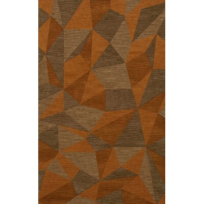 Bella Machine Woven Wool Orange/Brown  Area Rug Rug Size: Rectangle 4 x 6