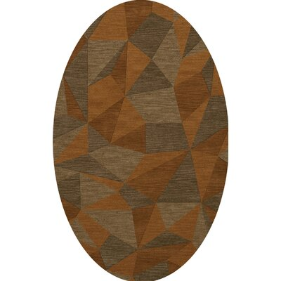 Bella Machine Woven Wool Orange/Brown  Area Rug Rug Size: Oval 10 x 14