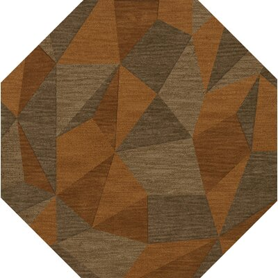 Bella Machine Woven Wool Orange/Brown  Area Rug Rug Size: Octagon 10