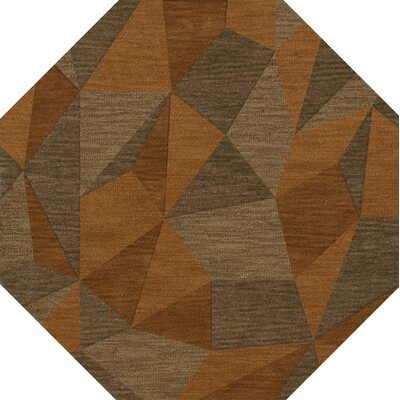 Bella Machine Woven Wool Orange/Brown  Area Rug Rug Size: Octagon 8
