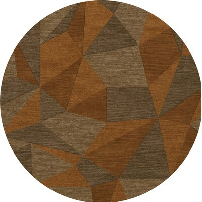 Bella Machine Woven Wool Orange/Brown  Area Rug Rug Size: Round 4