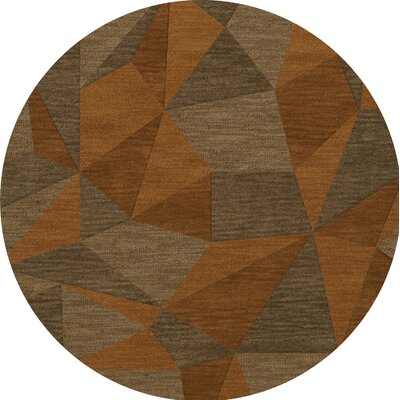 Bella Machine Woven Wool Orange/Brown  Area Rug Rug Size: Round 10