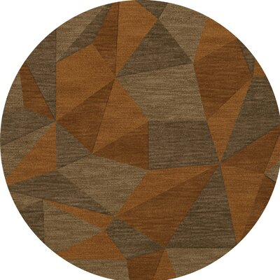 Bella Machine Woven Wool Orange/Brown  Area Rug Rug Size: Round 12
