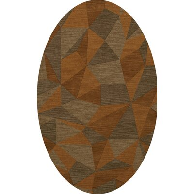 Bella Machine Woven Wool Orange/Brown  Area Rug Rug Size: Oval 12 x 15
