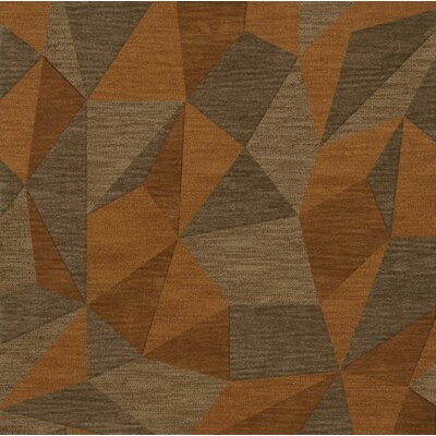 Bella Machine Woven Wool Orange/Brown  Area Rug Rug Size: Square 6